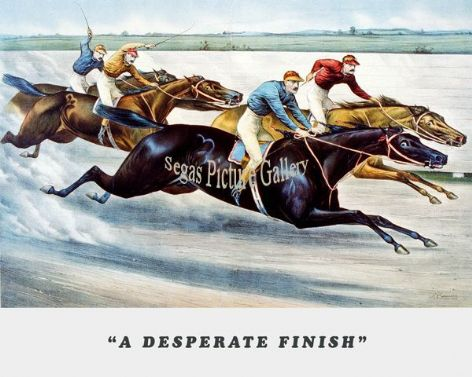 Fine art Horseracing Print of the 1800's Racing and Trotting of A Desperate Finish